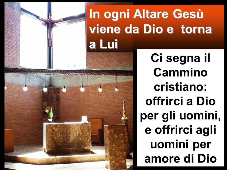 In ogni Altare Gesù viene da Dio e torna a Lui Ci segna il Cammino cristiano: offrirci a Dio per gli uomini, e offrirci agli uomini per amore di Dio