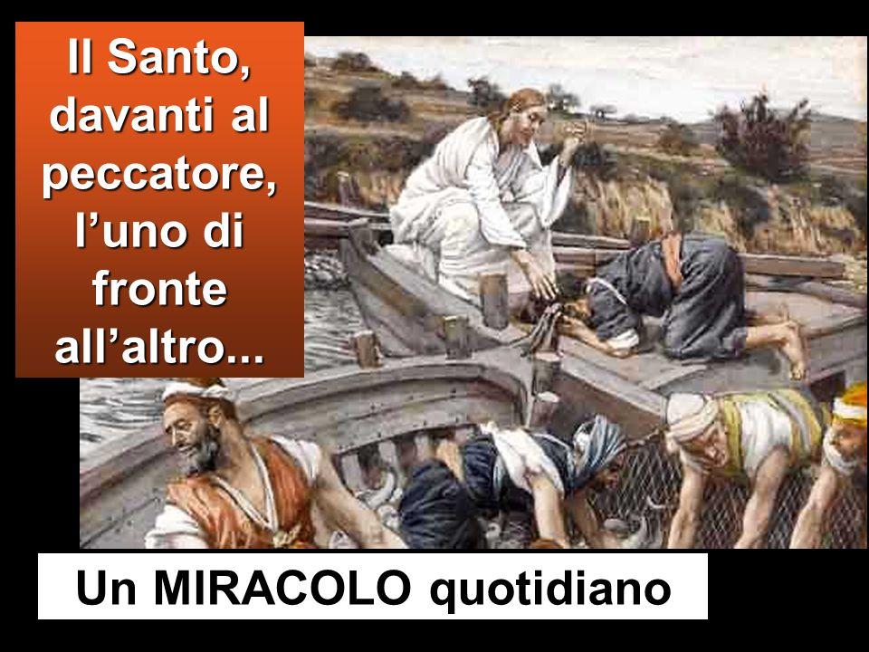 Al vedere questo, Simon Pietro si gettò alle ginocchia di Gesù, dicendo: «Signore, allontanati da me, perché sono un peccatore». Lo stupore infatti av