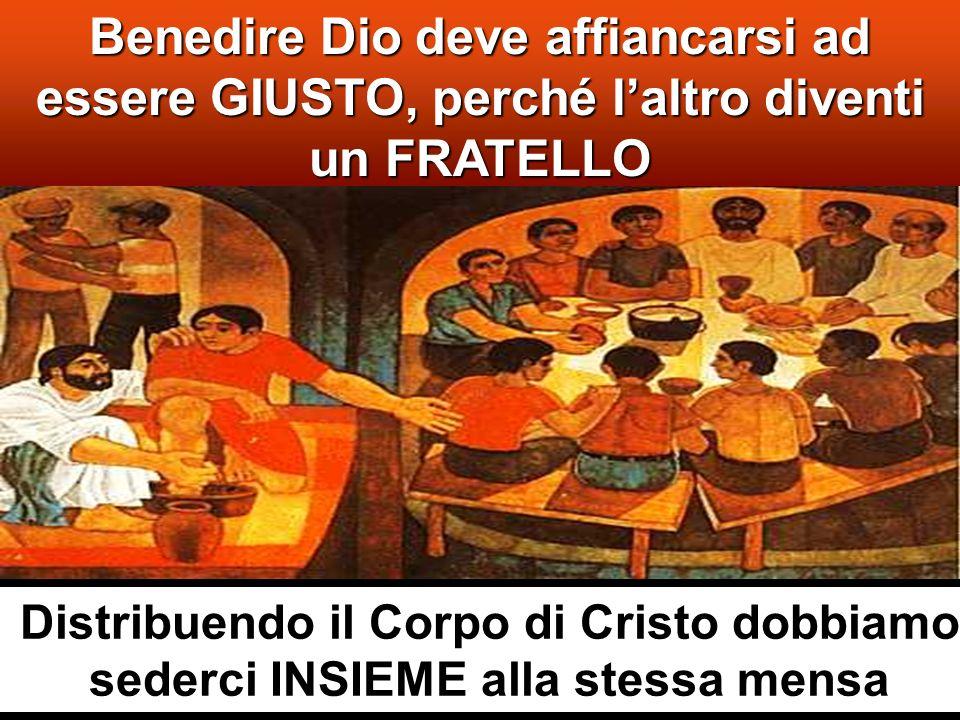 Egli prese i cinque pani e i due pesci, alzò gli occhi al cielo, recitò su di essi la benedizione, li spezzò e li dava ai discepoli perché li distribuissero alla folla.