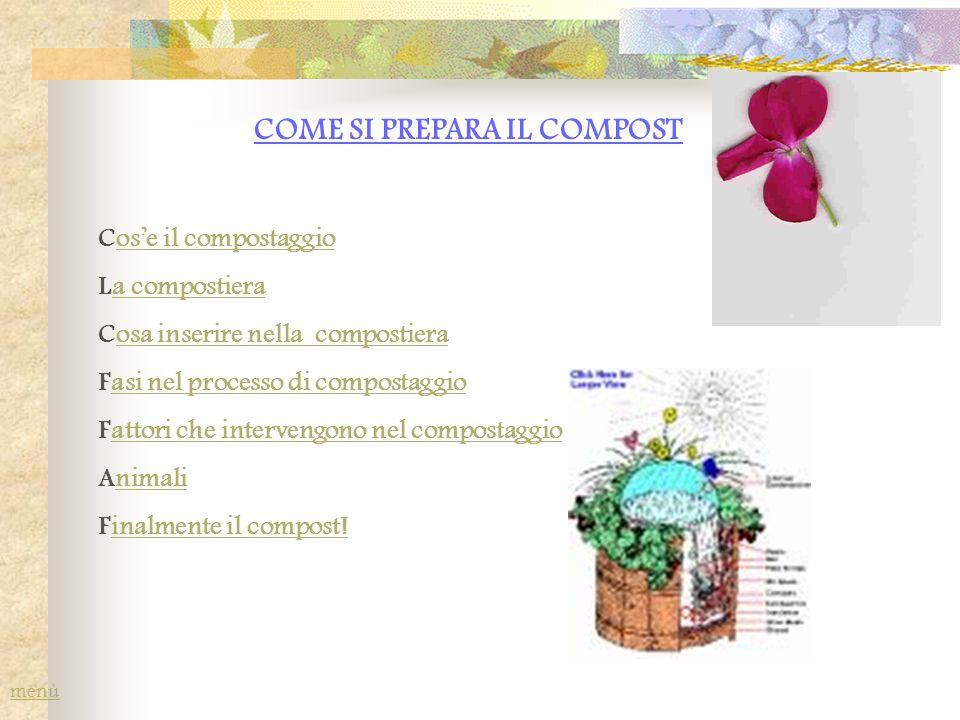 COME SI PREPARA IL COMPOST Cose il compostaggioose il compostaggio La compostieraa compostiera Cosa inserire nella compostieraosa inserire nella compo