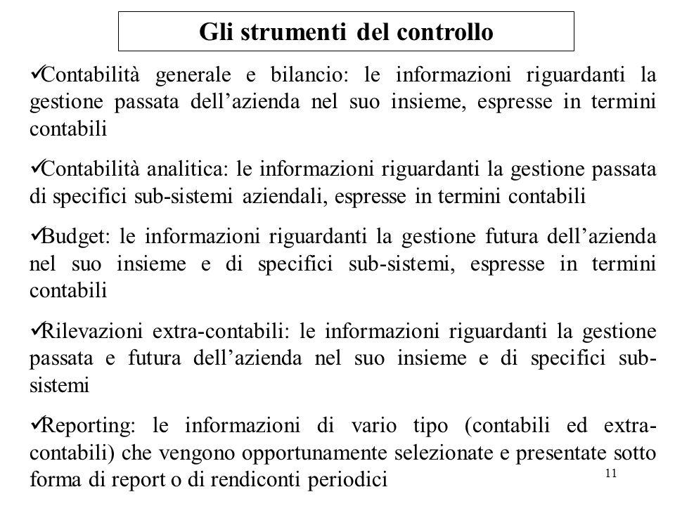 11 Gli strumenti del controllo Contabilità generale e bilancio: le informazioni riguardanti la gestione passata dellazienda nel suo insieme, espresse
