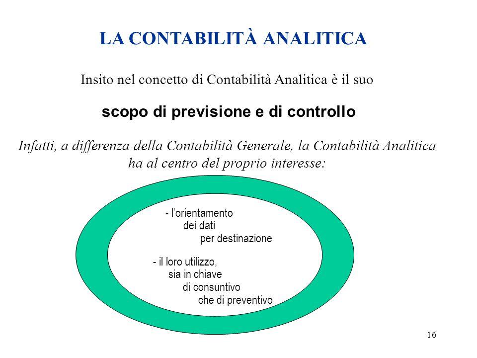 16 LA CONTABILITÀ ANALITICA Insito nel concetto di Contabilità Analitica è il suo scopo di previsione e di controllo Infatti, a differenza della Conta