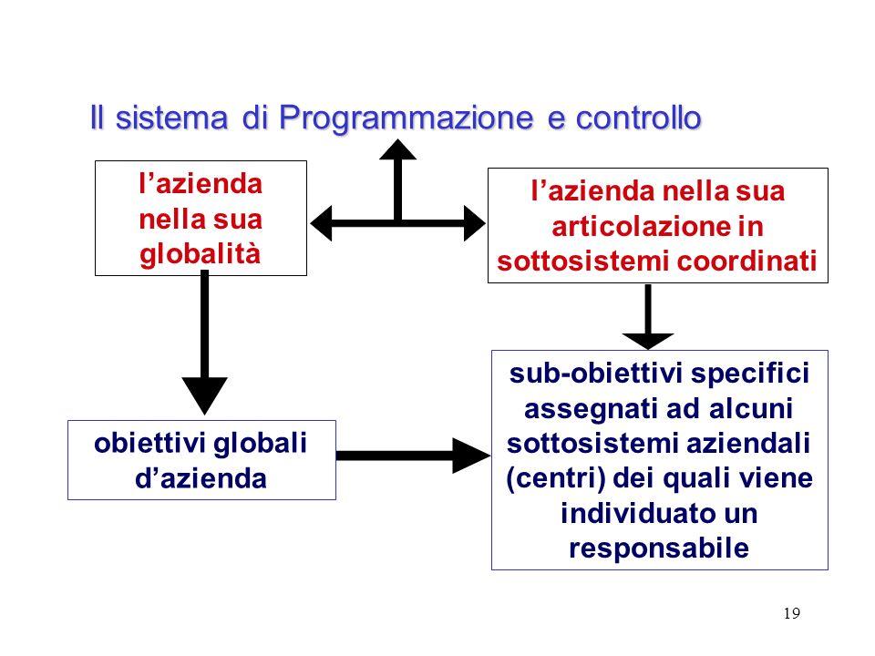 19 lazienda nella sua globalità lazienda nella sua articolazione in sottosistemi coordinati Il sistema di Programmazione e controllo sub-obiettivi spe