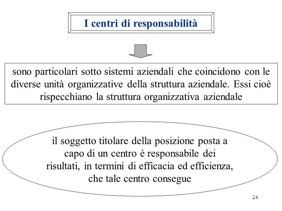 24 I centri di responsabilità sono particolari sotto sistemi aziendali che coincidono con le diverse unità organizzative della struttura aziendale. Es