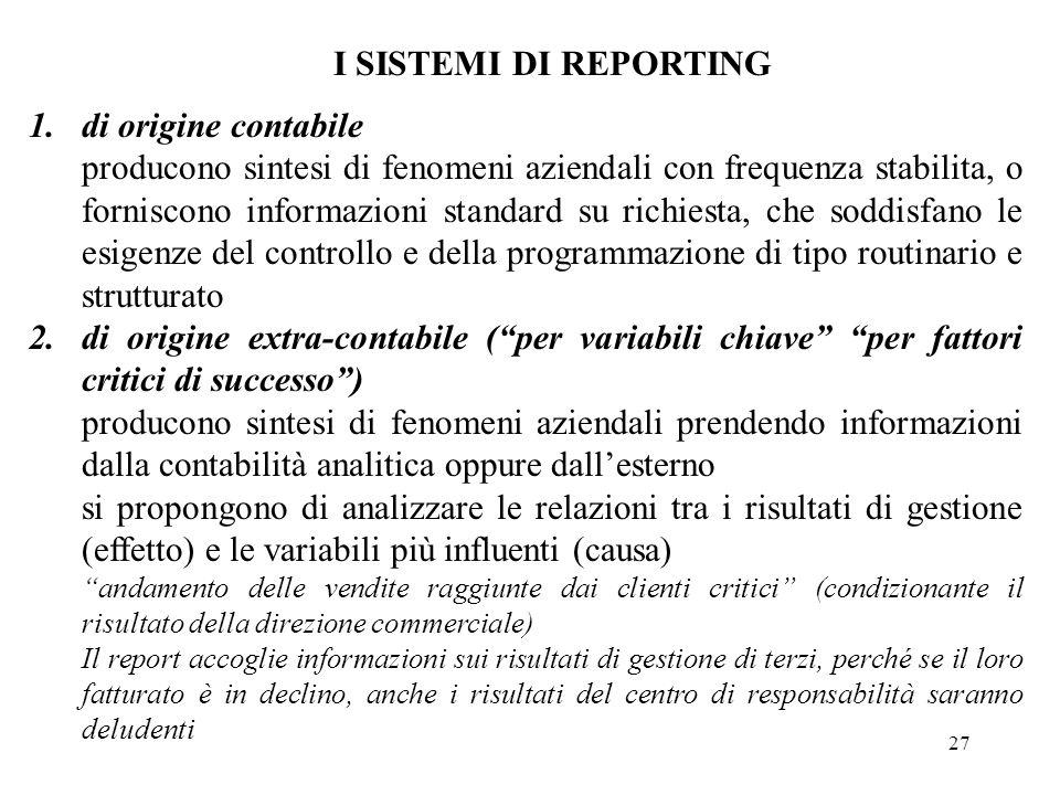 27 I SISTEMI DI REPORTING 1.di origine contabile producono sintesi di fenomeni aziendali con frequenza stabilita, o forniscono informazioni standard s