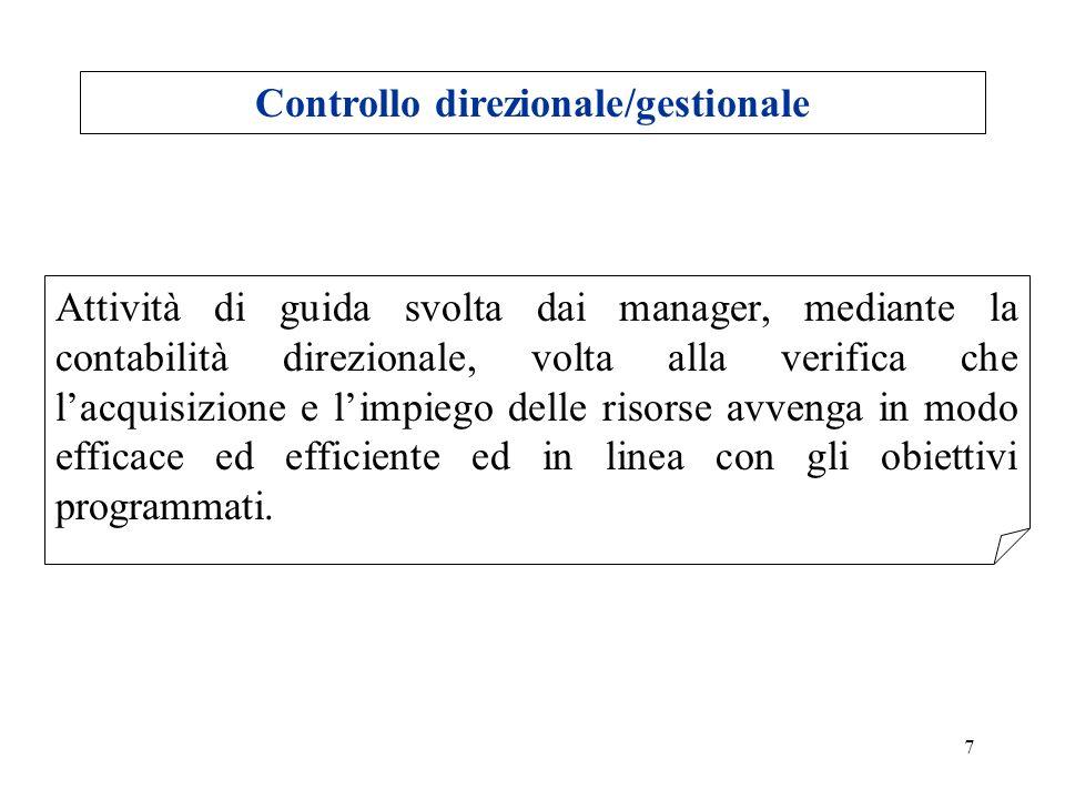 7 Controllo direzionale/gestionale Attività di guida svolta dai manager, mediante la contabilità direzionale, volta alla verifica che lacquisizione e