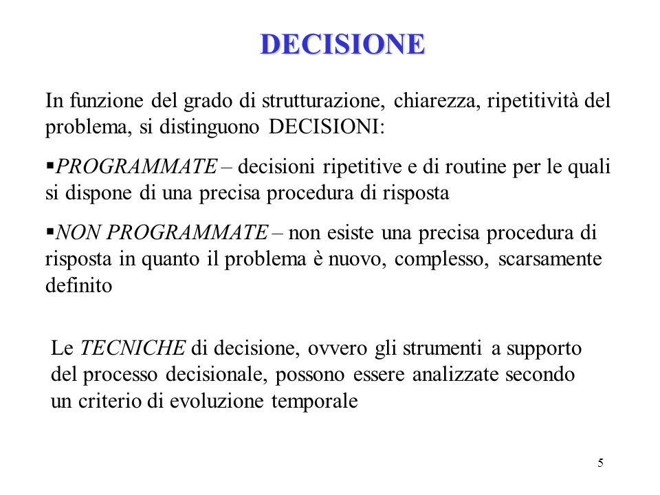 5 DECISIONE In funzione del grado di strutturazione, chiarezza, ripetitività del problema, si distinguono DECISIONI: PROGRAMMATE – decisioni ripetitive e di routine per le quali si dispone di una precisa procedura di risposta NON PROGRAMMATE – non esiste una precisa procedura di risposta in quanto il problema è nuovo, complesso, scarsamente definito Le TECNICHE di decisione, ovvero gli strumenti a supporto del processo decisionale, possono essere analizzate secondo un criterio di evoluzione temporale