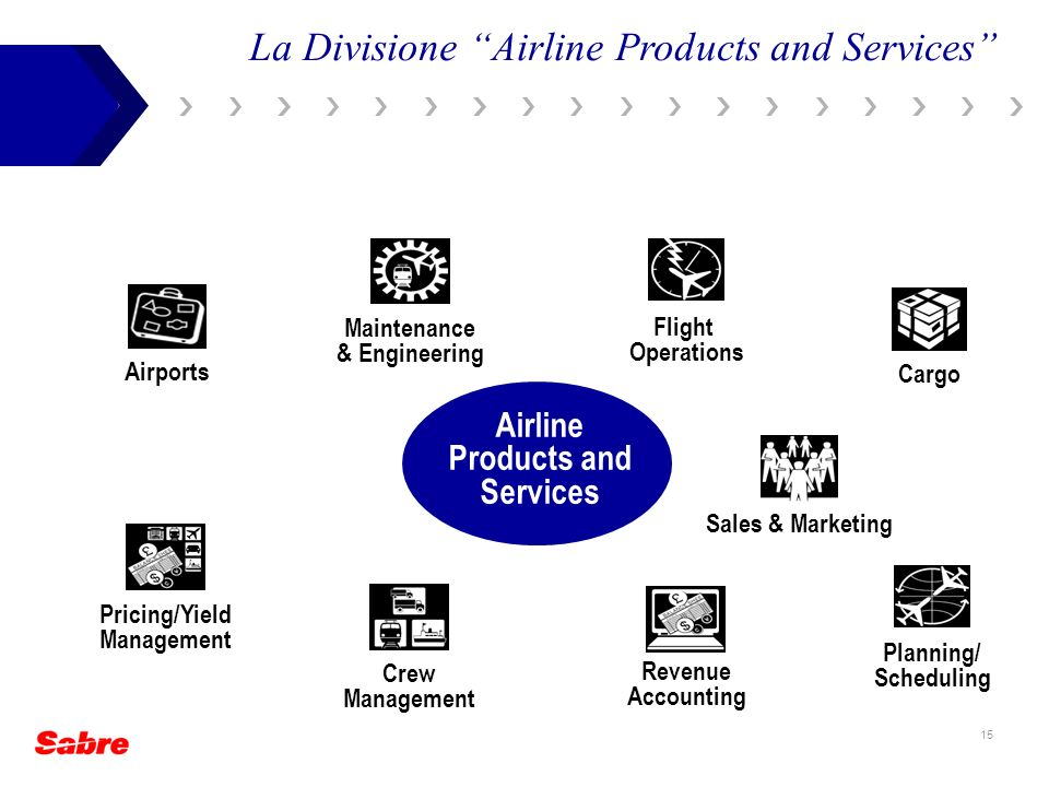 15 La Divisione Airline Products and Services Maintenance & Engineering Planning/ Scheduling Pricing/Yield Management Sales & Marketing Crew Managemen