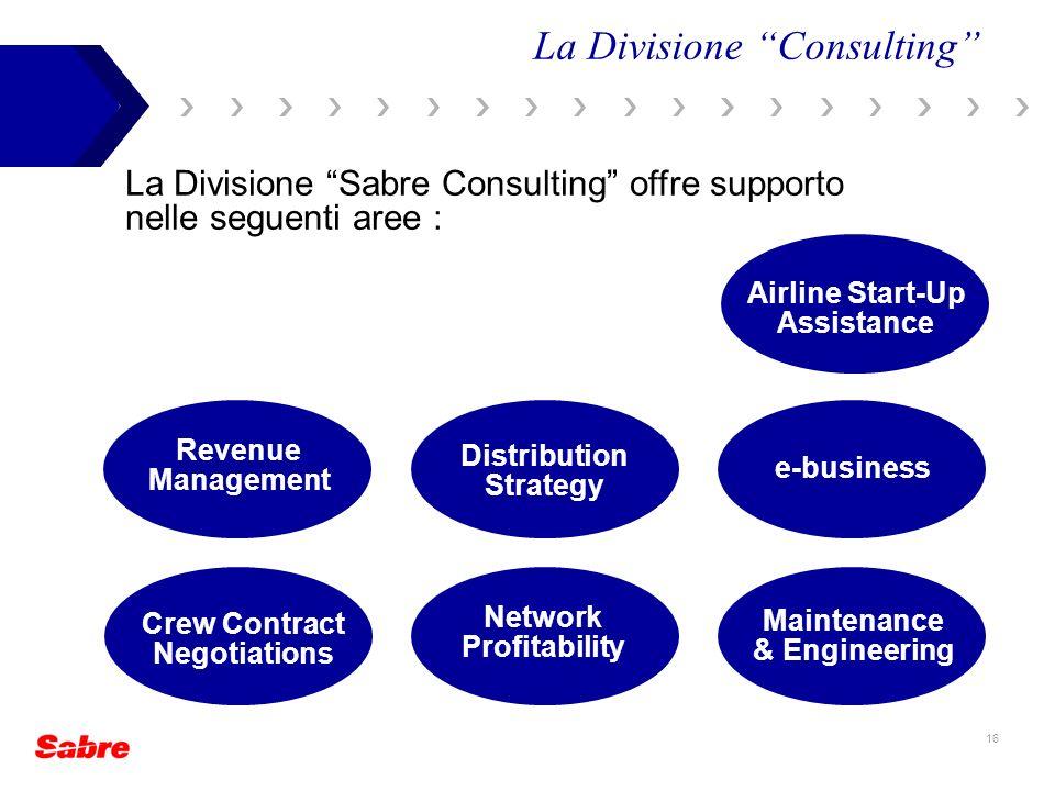 16 La Divisione Sabre Consulting offre supporto nelle seguenti aree : La Divisione Consulting Crew Contract Negotiations Distribution Strategy e-busin