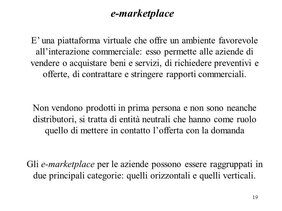 19 e-marketplace E una piattaforma virtuale che offre un ambiente favorevole allinterazione commerciale: esso permette alle aziende di vendere o acqui