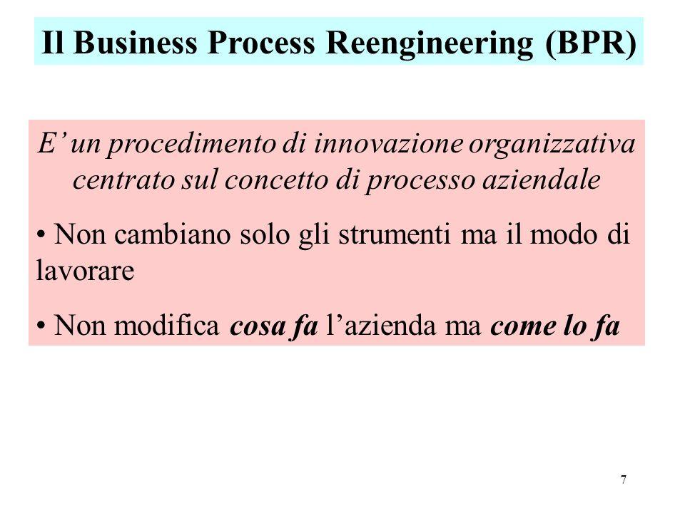 7 Il Business Process Reengineering (BPR) E un procedimento di innovazione organizzativa centrato sul concetto di processo aziendale Non cambiano solo