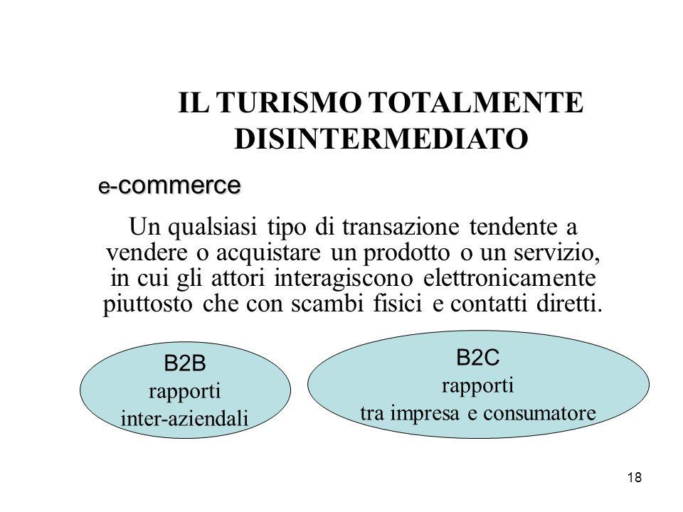 18 IL TURISMO TOTALMENTE DISINTERMEDIATO e- commerce Un qualsiasi tipo di transazione tendente a vendere o acquistare un prodotto o un servizio, in cu
