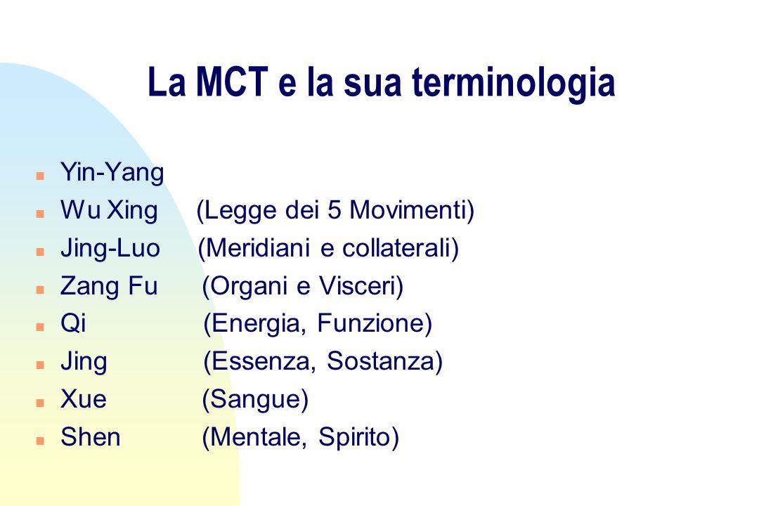 La MCT e la sua terminologia n Yin-Yang n Wu Xing (Legge dei 5 Movimenti) n Jing-Luo (Meridiani e collaterali) n Zang Fu (Organi e Visceri) n Qi (Energia, Funzione) n Jing (Essenza, Sostanza) n Xue (Sangue) n Shen (Mentale, Spirito)