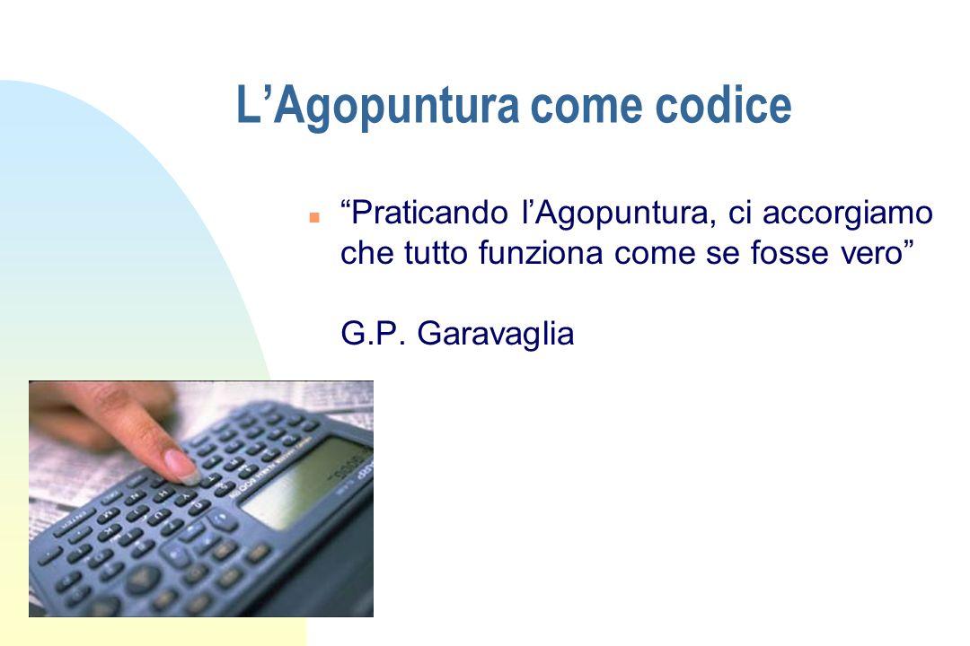 LAgopuntura come codice n Praticando lAgopuntura, ci accorgiamo che tutto funziona come se fosse vero G.P. Garavaglia