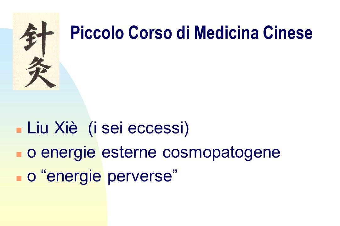 Piccolo Corso di Medicina Cinese n Liu Xiè (i sei eccessi) n o energie esterne cosmopatogene n o energie perverse