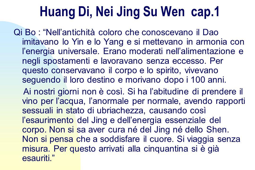 Huang Di, Nei Jing Su Wen cap.1 Qi Bo : Nellantichità coloro che conoscevano il Dao imitavano lo Yin e lo Yang e si mettevano in armonia con lenergia universale.