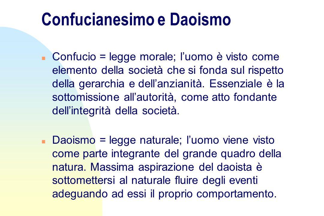 Confucianesimo e Daoismo n Confucio = legge morale; luomo è visto come elemento della società che si fonda sul rispetto della gerarchia e dellanzianit
