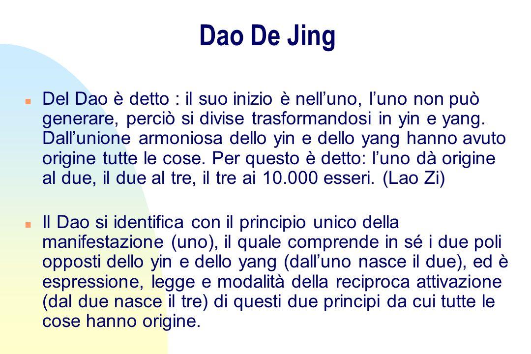 Dao De Jing n Del Dao è detto : il suo inizio è nelluno, luno non può generare, perciò si divise trasformandosi in yin e yang. Dallunione armoniosa de