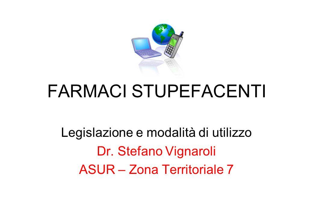 FARMACI STUPEFACENTI Legislazione e modalità di utilizzo Dr. Stefano Vignaroli ASUR – Zona Territoriale 7