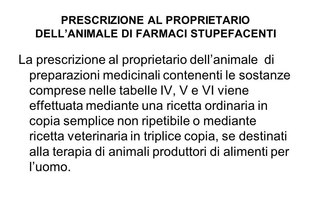PRESCRIZIONE AL PROPRIETARIO DELLANIMALE DI FARMACI STUPEFACENTI La prescrizione al proprietario dellanimale di preparazioni medicinali contenenti le