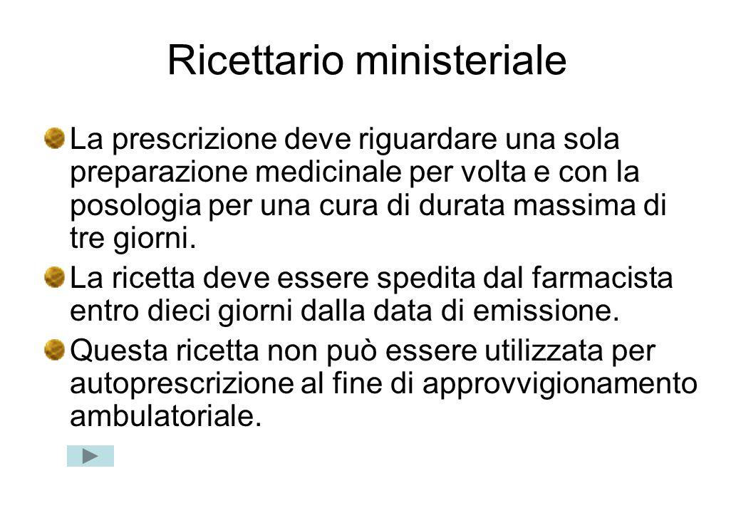 Ricettario ministeriale La prescrizione deve riguardare una sola preparazione medicinale per volta e con la posologia per una cura di durata massima d