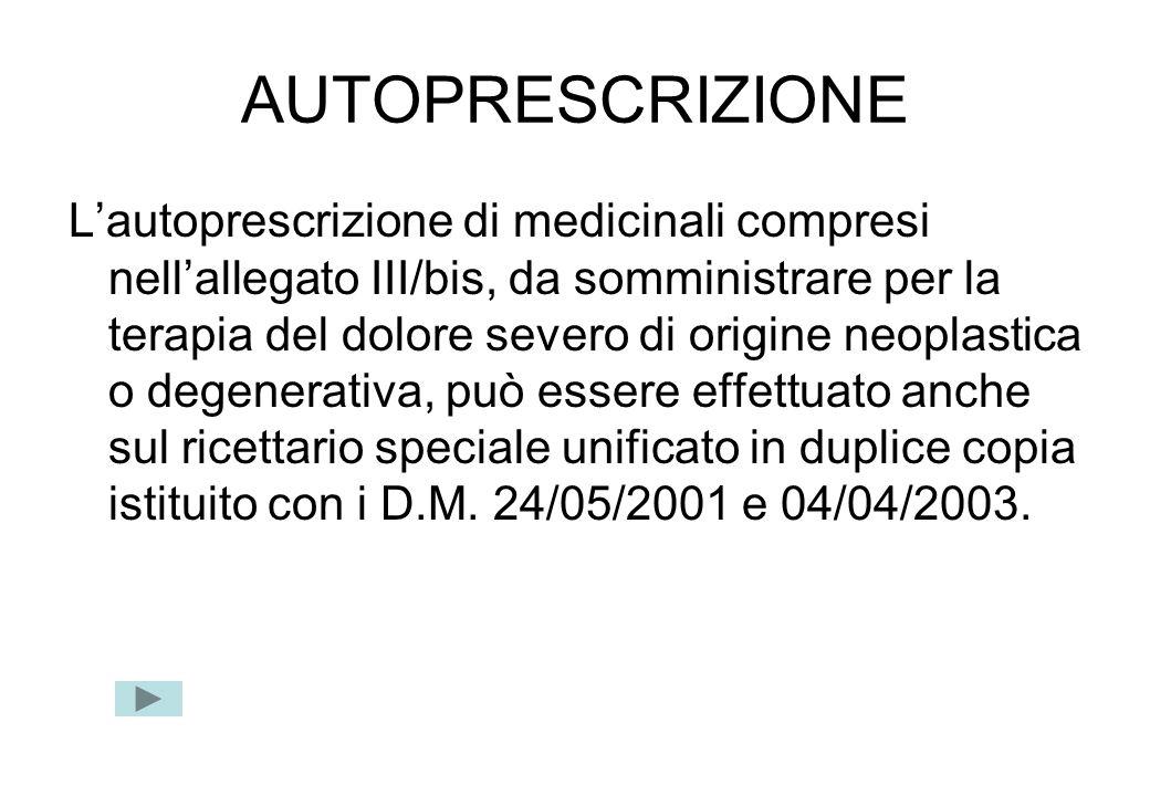 AUTOPRESCRIZIONE Lautoprescrizione di medicinali compresi nellallegato III/bis, da somministrare per la terapia del dolore severo di origine neoplasti