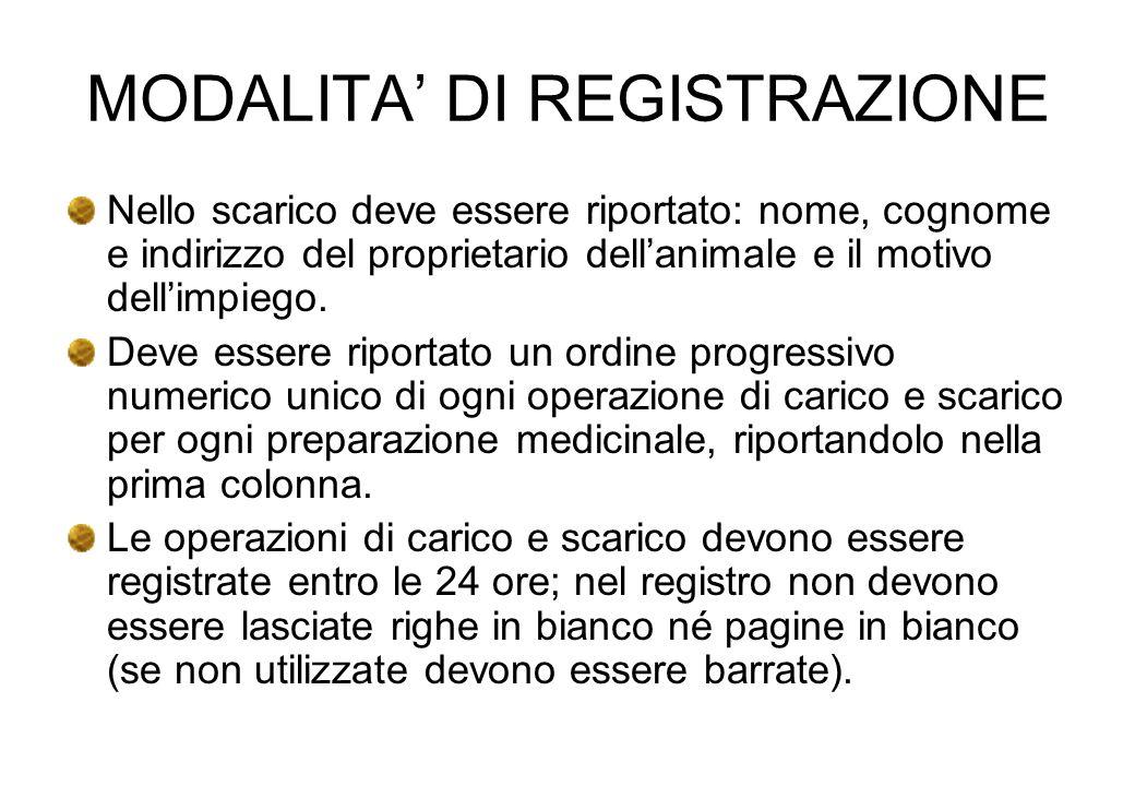 MODALITA DI REGISTRAZIONE Nello scarico deve essere riportato: nome, cognome e indirizzo del proprietario dellanimale e il motivo dellimpiego. Deve es