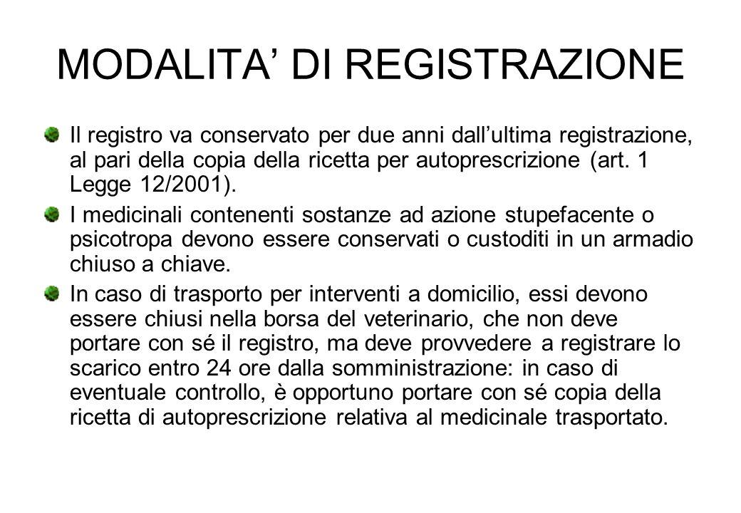 MODALITA DI REGISTRAZIONE Il registro va conservato per due anni dallultima registrazione, al pari della copia della ricetta per autoprescrizione (art