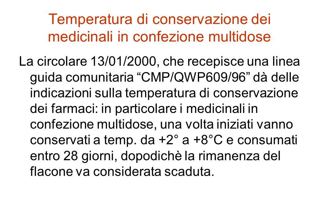 Temperatura di conservazione dei medicinali in confezione multidose La circolare 13/01/2000, che recepisce una linea guida comunitaria CMP/QWP609/96 d