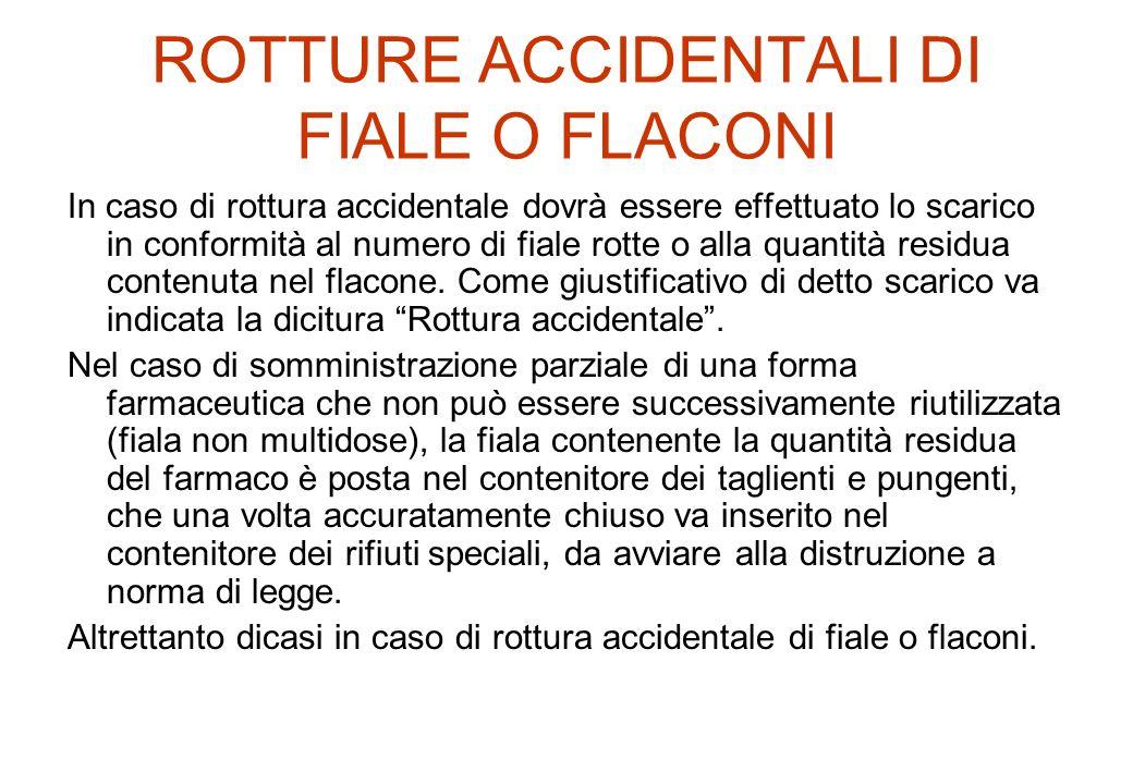 ROTTURE ACCIDENTALI DI FIALE O FLACONI In caso di rottura accidentale dovrà essere effettuato lo scarico in conformità al numero di fiale rotte o alla