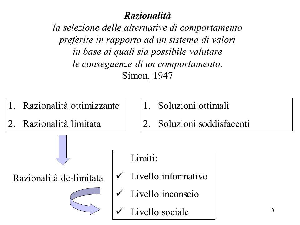 3 Razionalità la selezione delle alternative di comportamento preferite in rapporto ad un sistema di valori in base ai quali sia possibile valutare le