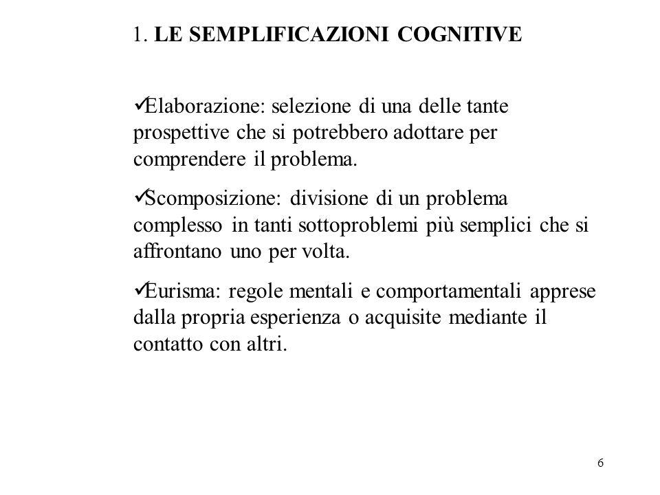 6 1. LE SEMPLIFICAZIONI COGNITIVE Elaborazione: selezione di una delle tante prospettive che si potrebbero adottare per comprendere il problema. Scomp