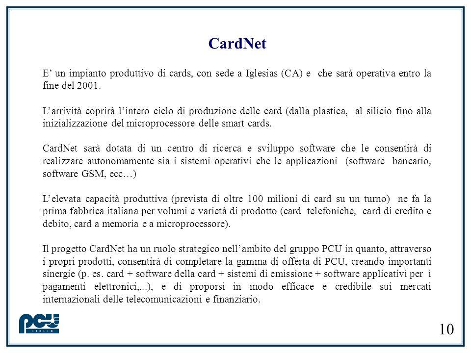 10 CardNet E un impianto produttivo di cards, con sede a Iglesias (CA) e che sarà operativa entro la fine del 2001. Larrività coprirà lintero ciclo di