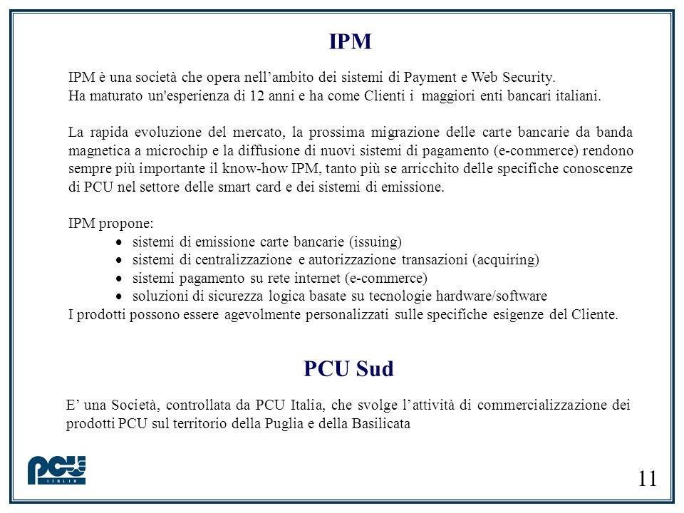 11 IPM IPM è una società che opera nellambito dei sistemi di Payment e Web Security. Ha maturato un'esperienza di 12 anni e ha come Clienti i maggiori