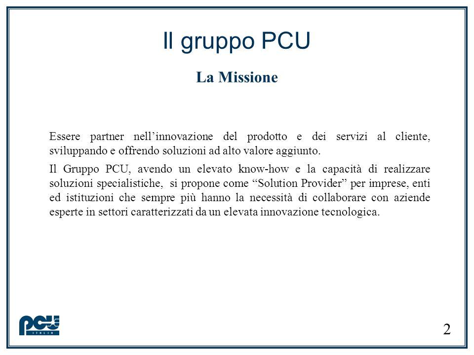 Essere partner nellinnovazione del prodotto e dei servizi al cliente, sviluppando e offrendo soluzioni ad alto valore aggiunto. Il Gruppo PCU, avendo