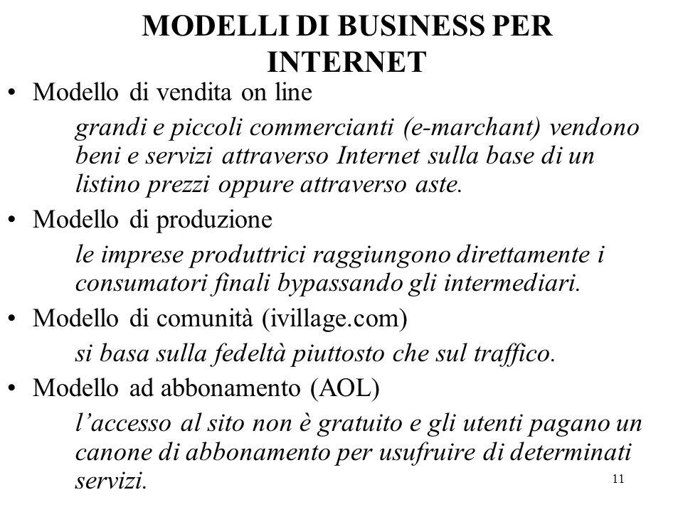 11 Modello di vendita on line grandi e piccoli commercianti (e-marchant) vendono beni e servizi attraverso Internet sulla base di un listino prezzi op