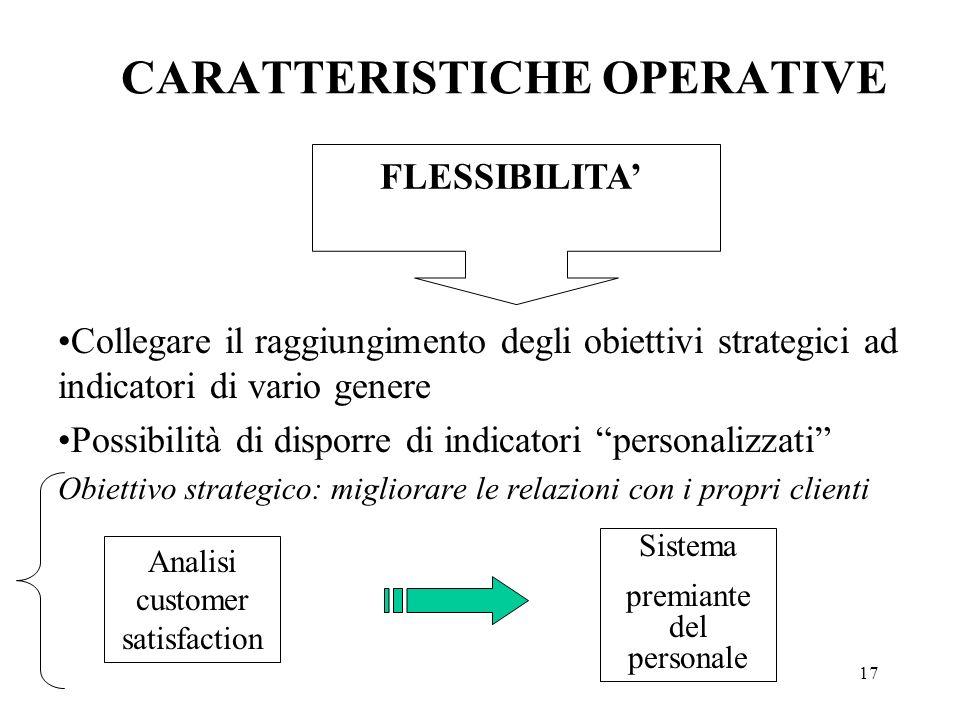 17 Collegare il raggiungimento degli obiettivi strategici ad indicatori di vario genere Possibilità di disporre di indicatori personalizzati Obiettivo