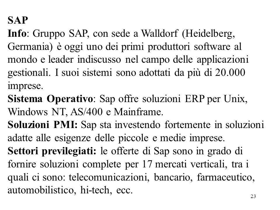 23 SAP Info: Gruppo SAP, con sede a Walldorf (Heidelberg, Germania) è oggi uno dei primi produttori software al mondo e leader indiscusso nel campo de