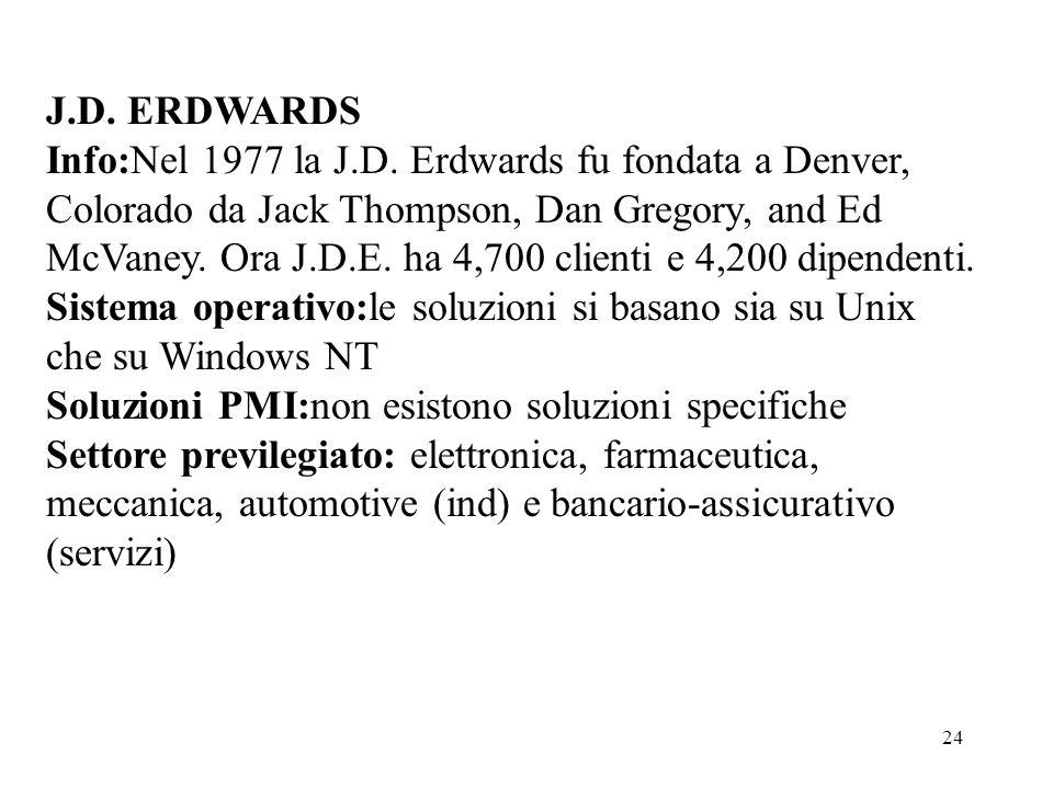 24 J.D. ERDWARDS Info:Nel 1977 la J.D. Erdwards fu fondata a Denver, Colorado da Jack Thompson, Dan Gregory, and Ed McVaney. Ora J.D.E. ha 4,700 clien