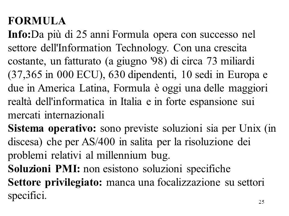25 FORMULA Info:Da più di 25 anni Formula opera con successo nel settore dell'Information Technology. Con una crescita costante, un fatturato (a giugn