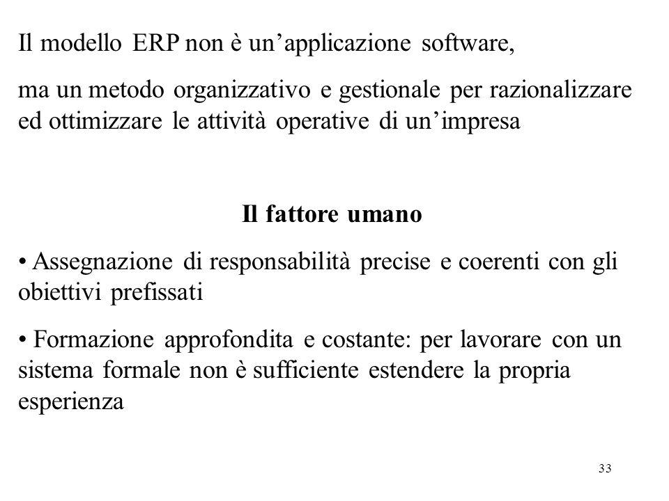 33 Il modello ERP non è unapplicazione software, ma un metodo organizzativo e gestionale per razionalizzare ed ottimizzare le attività operative di un