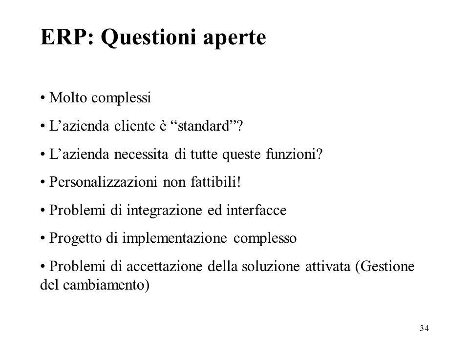 34 ERP: Questioni aperte Molto complessi Lazienda cliente è standard? Lazienda necessita di tutte queste funzioni? Personalizzazioni non fattibili! Pr