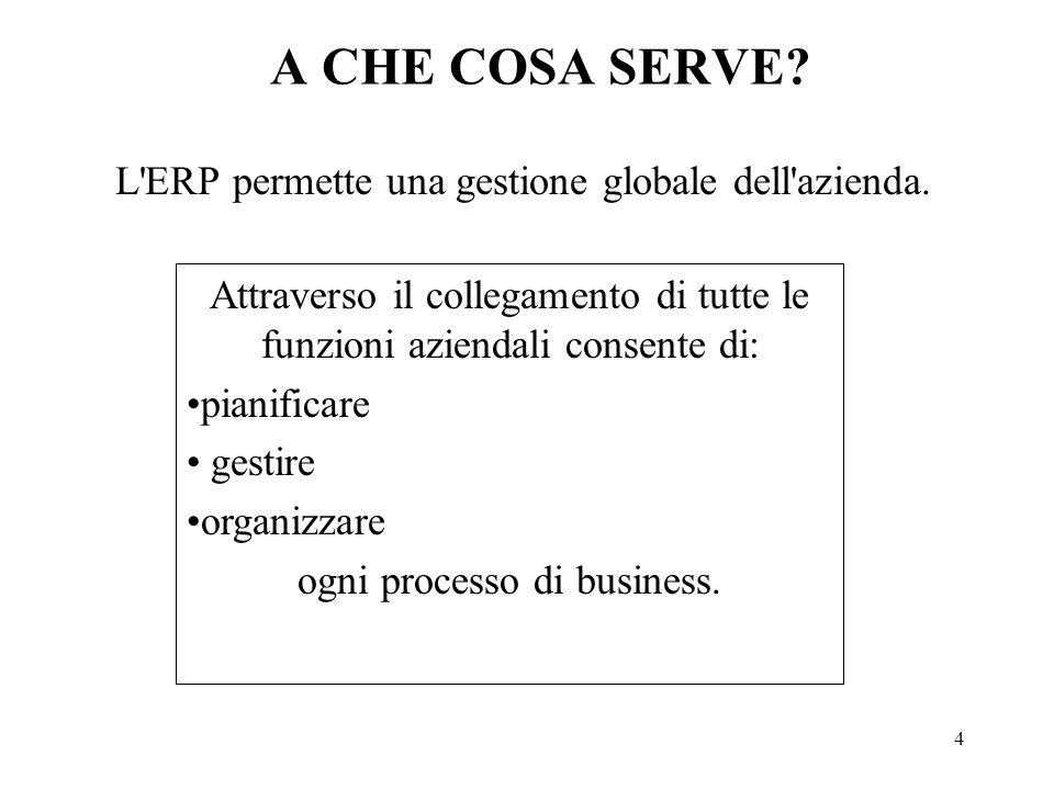 4 A CHE COSA SERVE? L'ERP permette una gestione globale dell'azienda. Attraverso il collegamento di tutte le funzioni aziendali consente di: pianifica