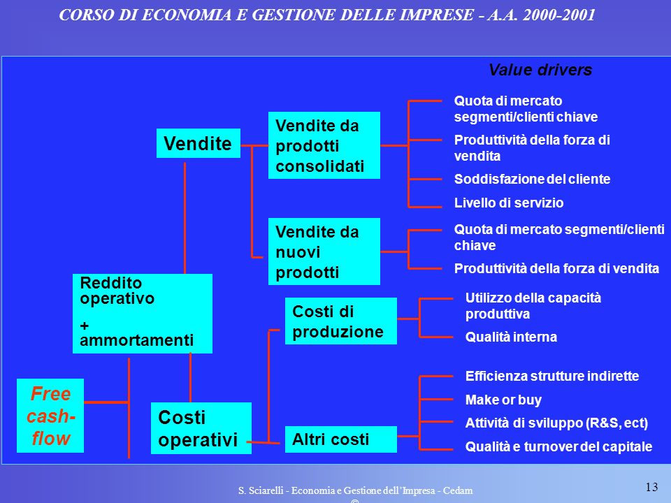 13 S. Sciarelli - Economia e Gestione dellImpresa - Cedam CORSO DI ECONOMIA E GESTIONE DELLE IMPRESE - A.A. 2000-2001 Free cash- flow Vendite Vendite