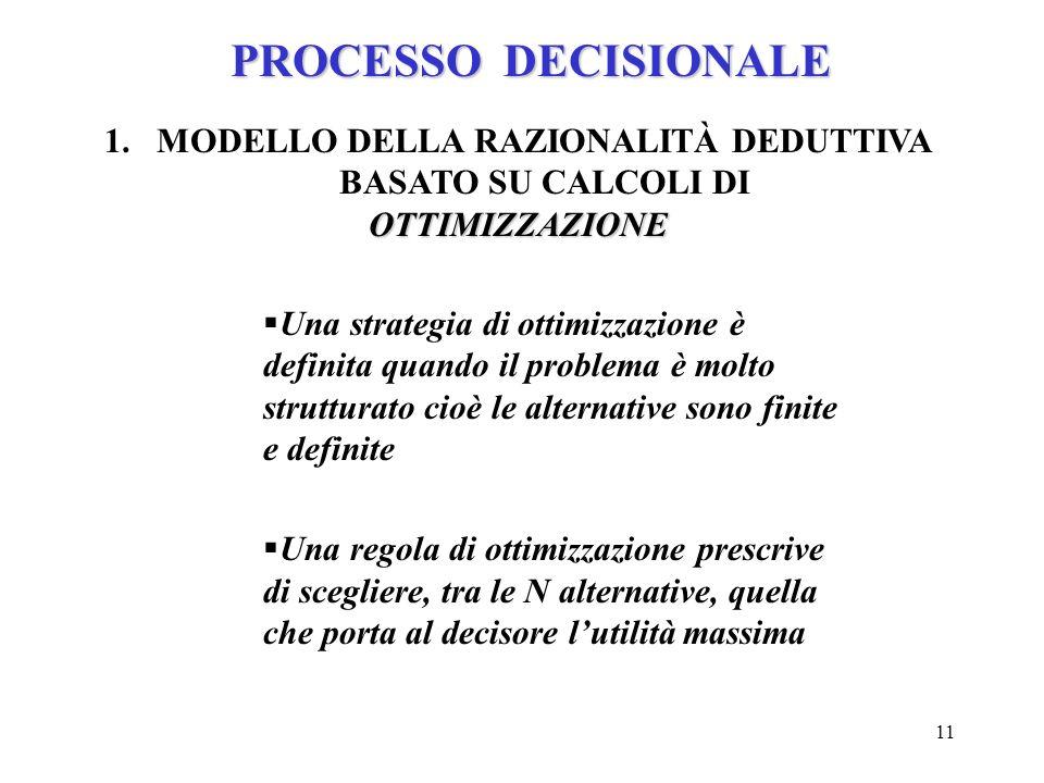 11 PROCESSO DECISIONALE 1.MODELLO DELLA RAZIONALITÀ DEDUTTIVA BASATO SU CALCOLI DIOTTIMIZZAZIONE Una strategia di ottimizzazione è definita quando il