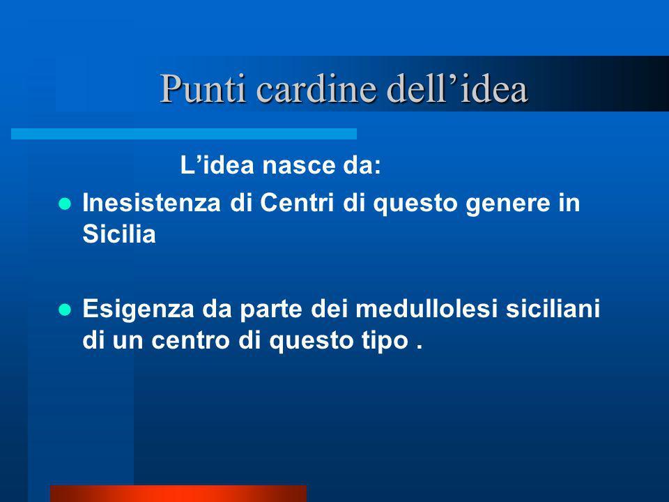 Punti cardine dellidea Punti cardine dellidea Lidea nasce da: Inesistenza di Centri di questo genere in Sicilia Esigenza da parte dei medullolesi sici
