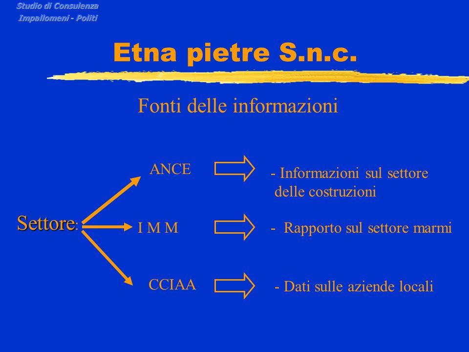 Etna pietre S.n.c. Fonti delle informazioni Settore Settore : ANCE - Informazioni sul settore delle costruzioni I M M- Rapporto sul settore marmi CCIA