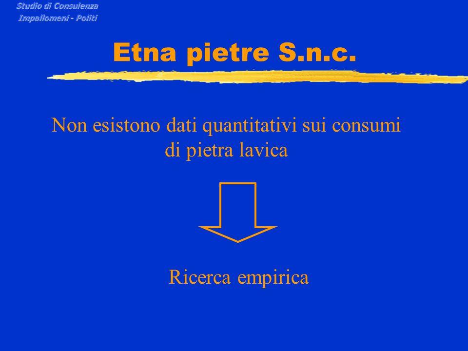 Etna pietre S.n.c. Non esistono dati quantitativi sui consumi di pietra lavica Ricerca empirica Studio di Consulenza Impallomeni - Politi