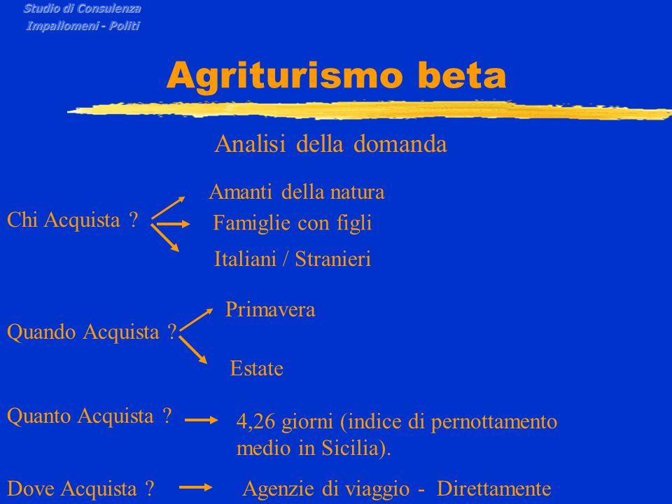 Agriturismo beta Analisi della domanda Chi Acquista ? Quando Acquista ? Amanti della natura Famiglie con figli Italiani / Stranieri Primavera Estate Q