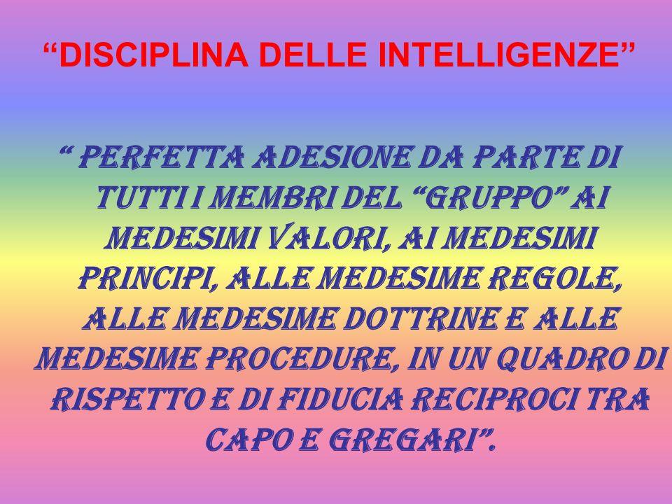 DISCIPLINA DELLE INTELLIGENZE perfetta adesione da parte di tutti i membri del gruppo ai medesimi valori, ai medesimi principi, alle medesime regole,